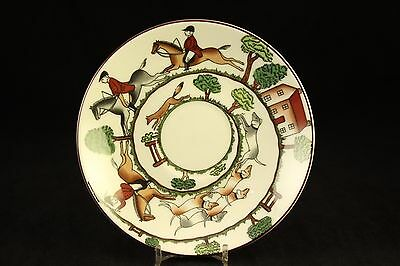 "Crown Staffordshire 5-1/2"" Tea-Cup Saucer Plate Hunting Scene Bone China England"