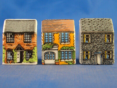 Fine China Thimbles - Set Of Three Miniature House Style - Country Cottages