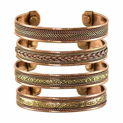 Tibetan Copper Bracelets, Magnetic India Pattern, 4 Pcs