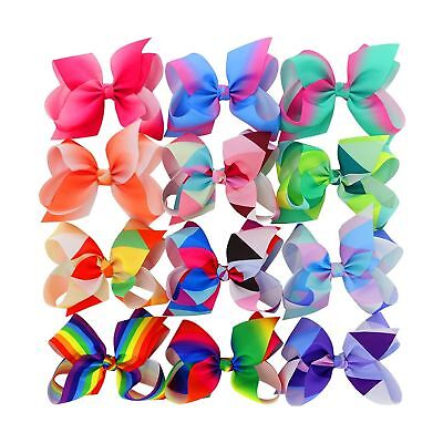 BIG Larger Grosgrain Ribbon Boutique 6in Rainbow Hair Bows Clips For Baby Gir...