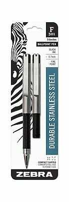 Zebra F-301 Compact Ballpoint Stainless Steel Retractable Pen, Fine Point, 0.7mm