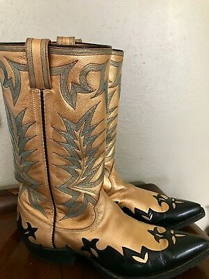 Mens Vintage OLSEN STELZER Gold Leather Custom Handmade Cowboy Boots circa 1970s