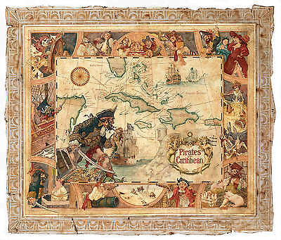 Vintage Pirates of the Caribbean Map Poster | Sizes A4 to A0 UK Seller| E117