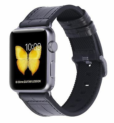 Silicone INSIDE and Leather OUTSIDE Wrist Strap Band for iWatch 42mm Apple Watch