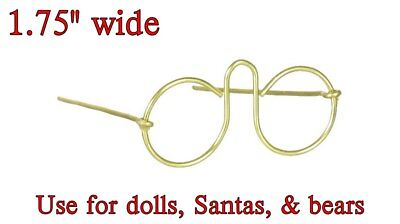"Pkg of 3 MINIATURE EYE GLASSES GOLD WIRE 1.75"" for DOLLS, BEARS, SANTAS No Glass"