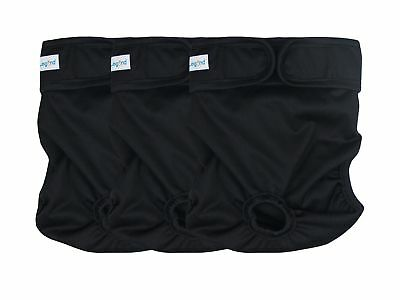 Paw Legend Reusable Female Dog Diapers, Pack of 3 Black ( black lining ) M