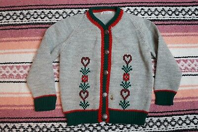 Vintage Crochet Knitted Made in Mexico Cardigan Sweater Girls See Measurements