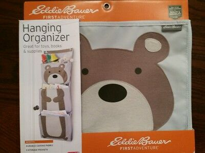 Eddie Bauer First Adventure Baby/Kids Canvas Hanging Organizer Bear NEW