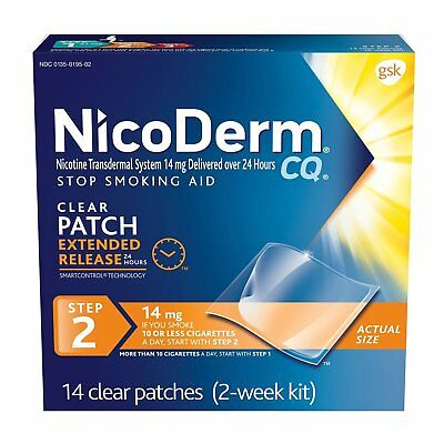 NicoDerm CQ Step 2 14mg 14 Clear Patches 06/2018+ Brand New In Box Free Shipping