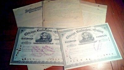 Chicago Burlington Quincy STOCK (2)  plus  CB&Q  Documents  (3)  1895   1900's