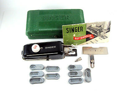 Vintage Singer Featherweight 221 Sewing Machine Buttonholer With 9 Templates