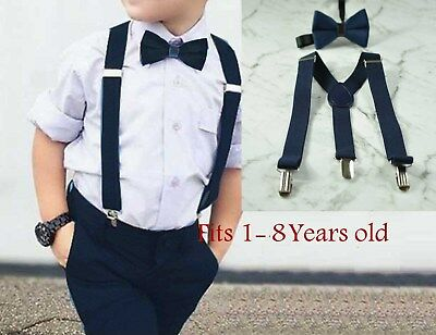 Boy Baby Kids Navy Blue Velvet Bow Tie Suspenders Braces Sets 1-8 Years Old
