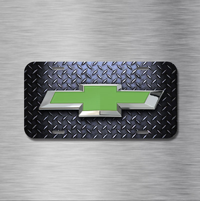 Chevy chevrolet Green Bow Tie Vehicle License Plate Front Auto NEW DIAMOND PLATE