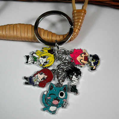 Fairy Tail Natsu Keychain Cute Metal Key Ring Happy Cat Pendant Key chain