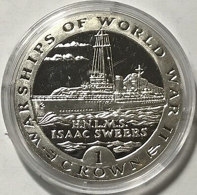 1993 Crown - Gibraltar - Warships Of World War Ii - Hnlms Isaac Sweers - Silver