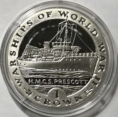 1993 Crown - Gibraltar - Warships Of World War Ii - Hmcs Prescott - Silver