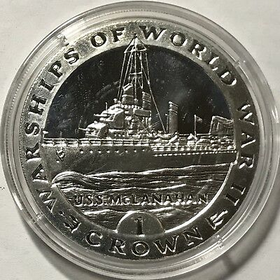 1993 CROWN - GIBRALTAR - WARSHIPS OF WORLD WAR II - USS McLANAHAN - SILVER