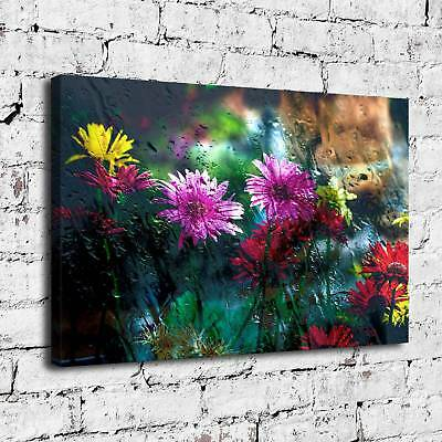 608-Flowers Behind Glass Painting HD Print on Canvas Home Decor Wall Art Picture