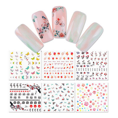 Butterfly Flower Maple Leaf Water Decals Manicure Nail Art Transfer Sticker Tips