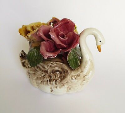 Vintage Capodimonte Porcelain Swan Sculpture Figurine with Flowers Italy, (L)