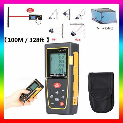 【100M / 328ft 】Digital LCD Laser Distance Meter Range Finder Measure Tape Tool