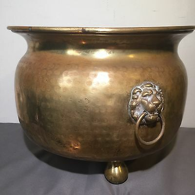 GIANT Imperial Russian Brass Flower Pot. Lion Decorations.