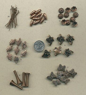 Over 60 antiqued copper tone  jewellery components (Y5)