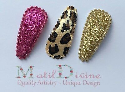 Baby Girls Hair Clips Bow ~ 3 cm Snap Clips Set of 3 Leopard Pink Gold Glitter