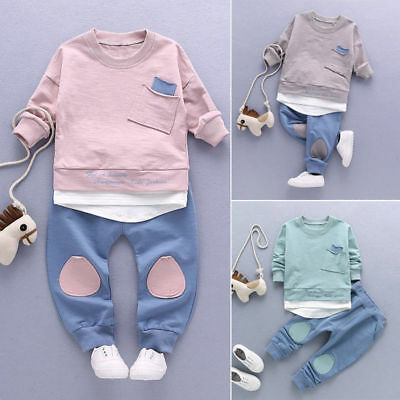 2pcs Newborn Toddler Baby Boy Clothes T-Shirt Tops+Pants Outfits Set Formal Suit
