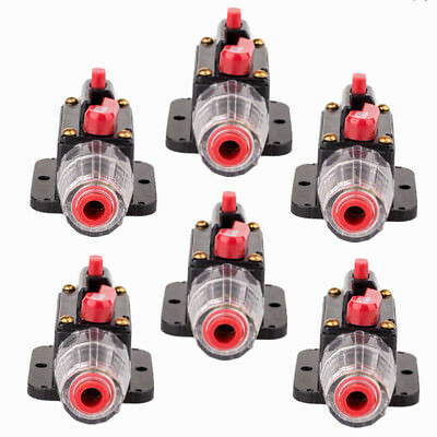 6pcs 100AMP DC12V Car Stereo Audio Circuit Breaker Inline Fuse Holder Waterproof