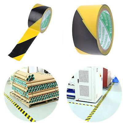 Black Yellow 10m Floor Boundary Safety Caution 40mm Width Hazard Warning Tape
