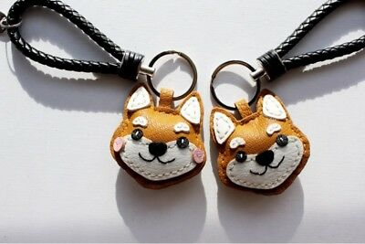 Shiba Inu Dog Genuine Leather Key Keychain Keyring Lucky Hamdmade