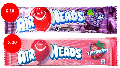 COMBO AIR HEADS x 40 16g BARS - GRAPE & STRAWBERRY FLAVOURED CANDY AMERICAN