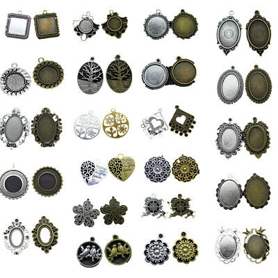 Lot Tibetan Silver Charms Jewelry Crafts Pendant Connector Cameo Cabochon Making