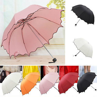 Mini Folding Umbrella Women Girl Compact Windproof Rain / Sun Travel Umbrella