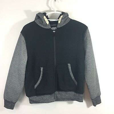 NWT Distortion Boys Size M Hoodie Fleece Lined Heavy Gray Black Jacket (R)