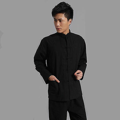 Traditionale Cinese stile Jackie Chan Maglietta Nero Kung Fu Suit Tai Chi sport