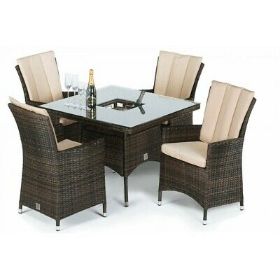 Seattle Rattan Outdoor Garden Furniture 4 Seater Brown Square Dining Set with Ic
