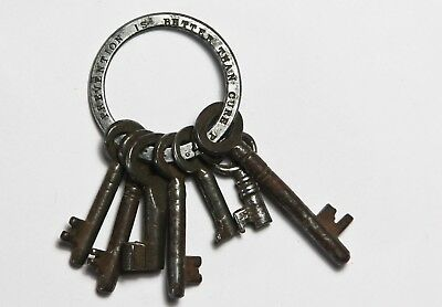 Rare Victorian Keys on ring Advertisement P&Co 'prevention is better than cure'