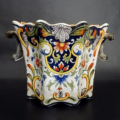 French Antique Faïence/Majolica Large Square Planter - Fourmaintraux Desvres