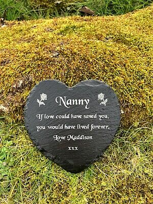 Personalised Engraved Slate Heart Memorial Grave Marker Plaque Grandma Mum Nan