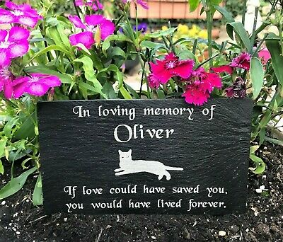 Personalised Engraved Pet Memorial Slate Headstone Grave Marker Plaque for a Cat