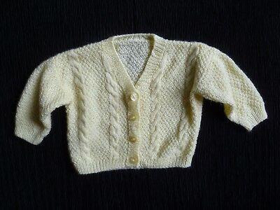 Baby clothes BOY GIRL 3-6m yellow, super soft, hand knitted cardigan SEE SHOP!