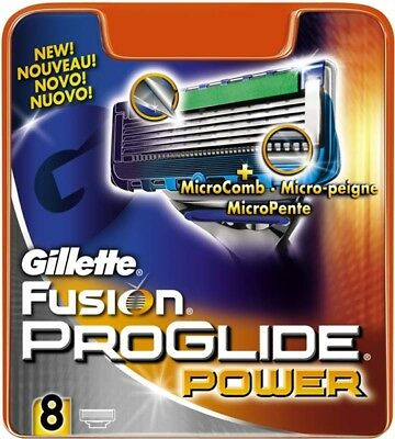 Gillette Fusion Proglide Power Razor Blades 8 - 100% Genuine Uk Stock