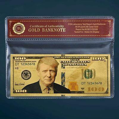 President Donald Trump Money $100 Dollar Gold Foil Note 2018 Release W/COA