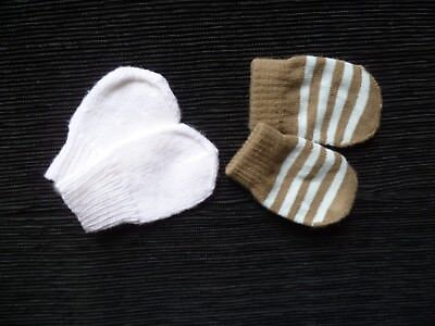 Baby clothes BOY 0-3m 2 pairs warm, soft knitted mittens brown/blue&white SHOP!