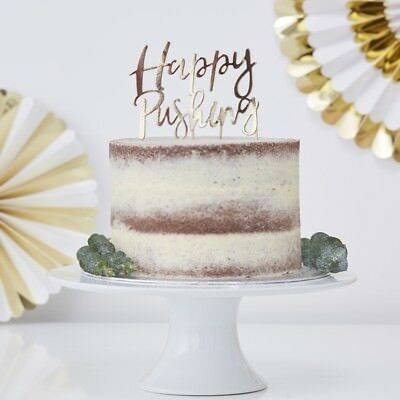 GOLD FOILED HAPPY PUSHING CAKE TOPPER - Baby Shower, Party Decoration, Tableware