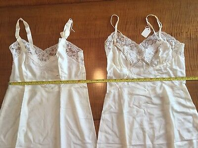 vintage slips, lot of 2, never worn, cream color with lace