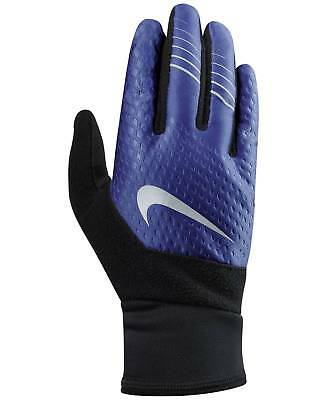 $50 NIKE Men Therma Fit Run Gloves Black Blue TOUCHSCREEN ATHLETIC WINTER SIZE S
