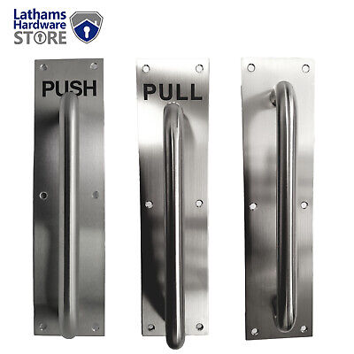 "D PULL HANDLE ON PLATE PUSH PULL 225mm 9"" Handle Brushed Stainless Steel"